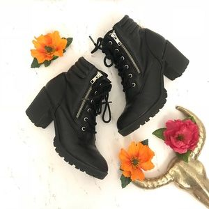 Mossimo Supply Co. Shoes - Mossimo | Black Moto Ankle Lace Up Heel Booties